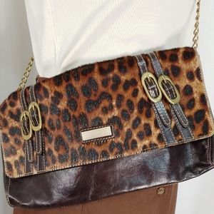 Marco Buggiani Leather Leopard Print cowhair hide